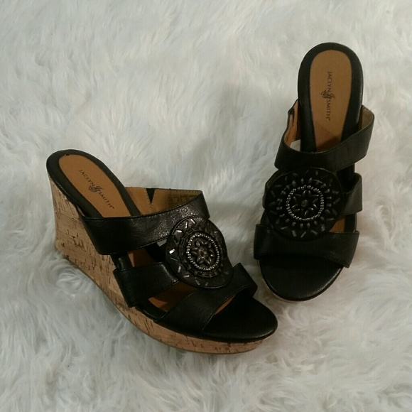 40922694a8 Jaclyn Smith Shoes - NWOT Jaclyn Smith Black Wedge Sandals